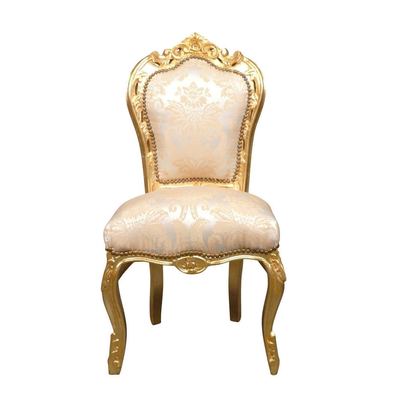 LC Barok eetkamer stoel Milano goud bloem