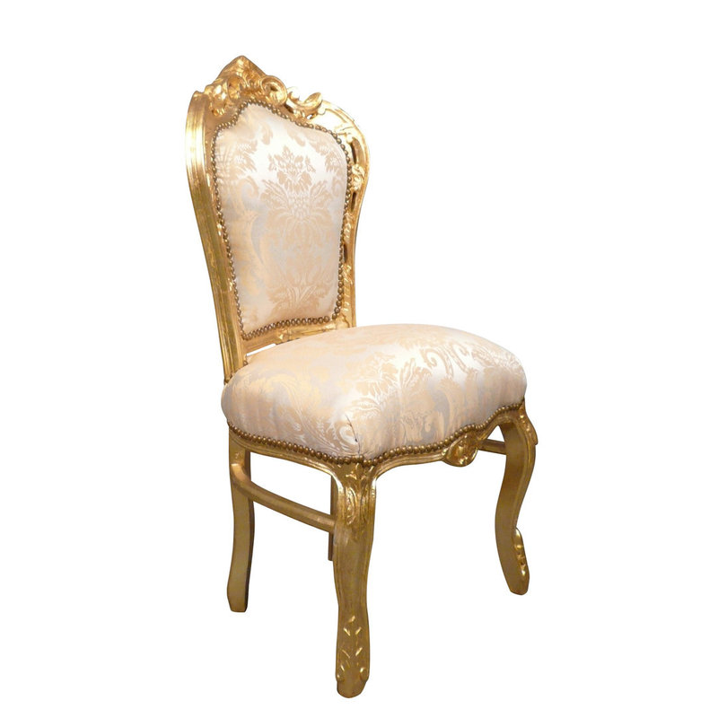 LC Baroque dining room chair Milano gold flower