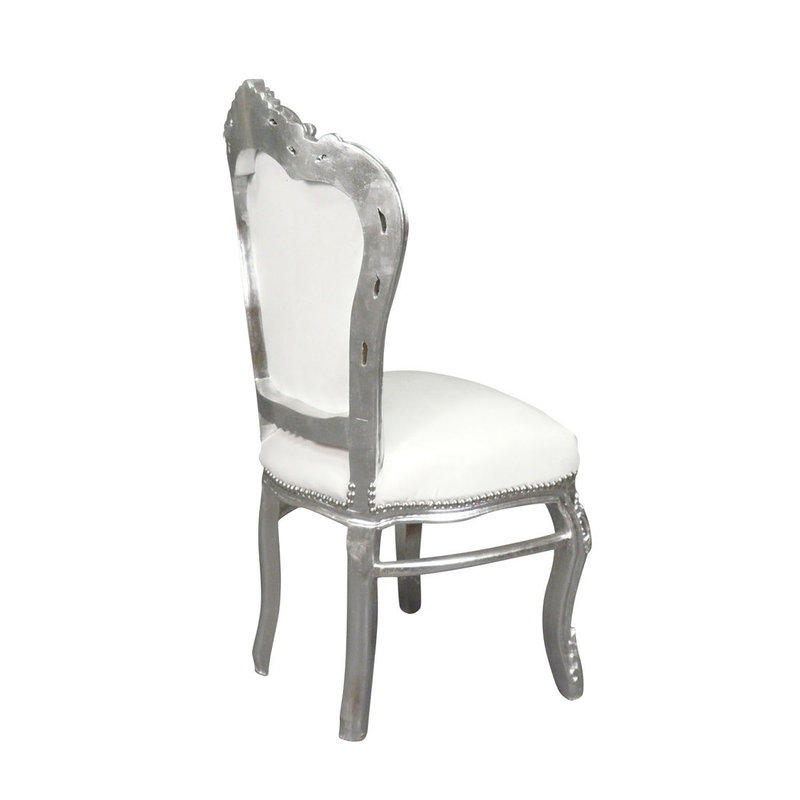 LC Baroque dining room chair silver white sky