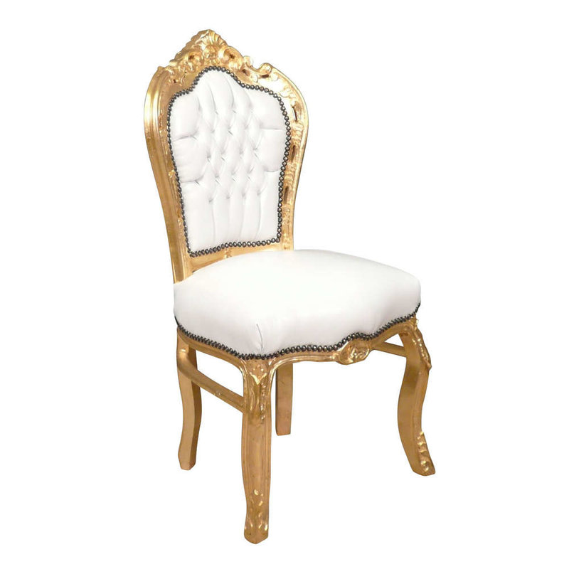 LC Baroque dining room chair gold white sky