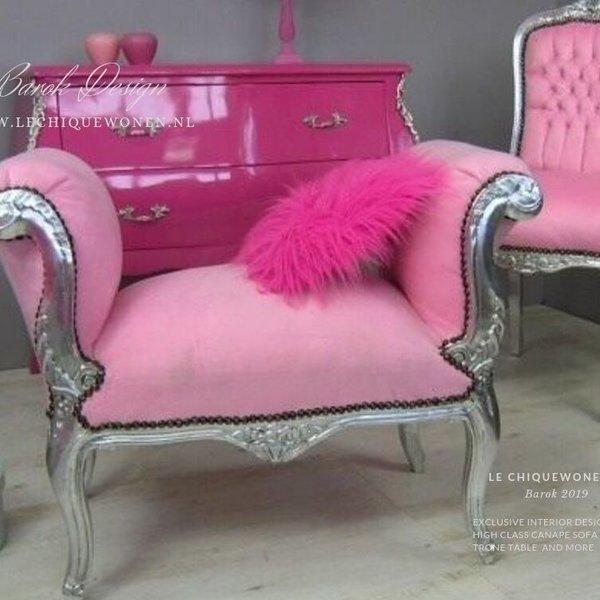 LC Bankje cleo zilver roze