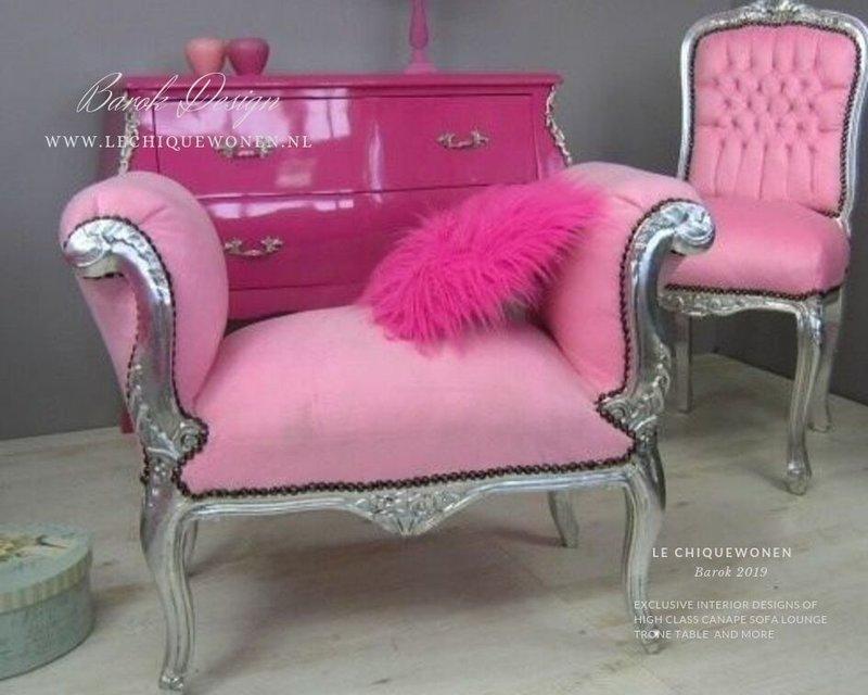 LC Barok bankje cleo zilver roze