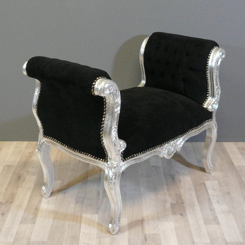LC Barok bankje cleo zilver zwart