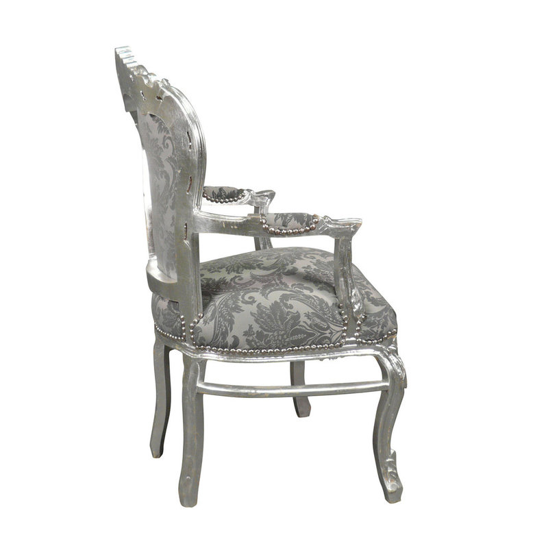 Royal Decoration   Baroque armchair Milano grey  flower