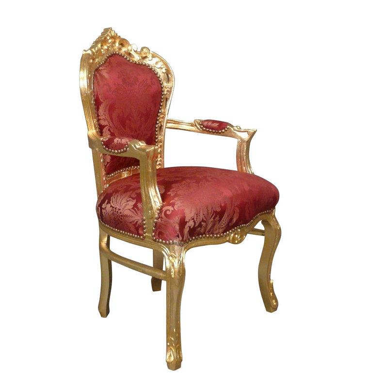 Royal Decoration   Barok armstoel Milano  goud  rood flower