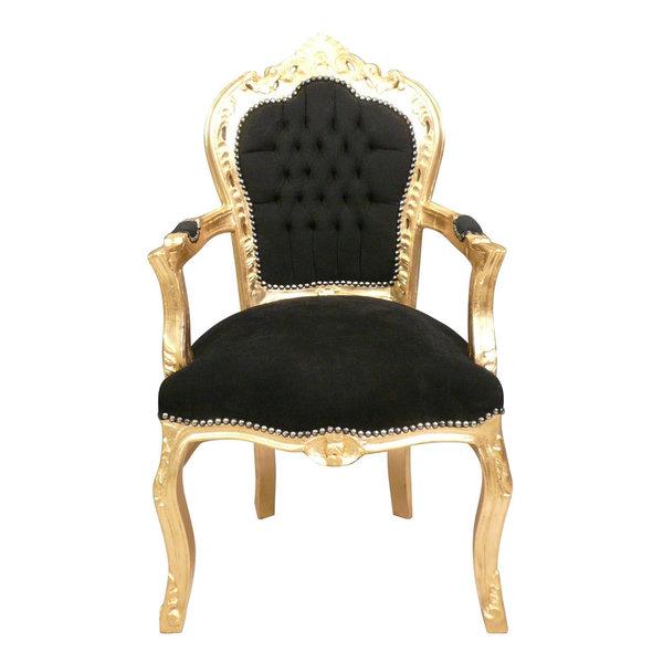 Royal Decoration   Barok armstoel goud  zwart Penelope