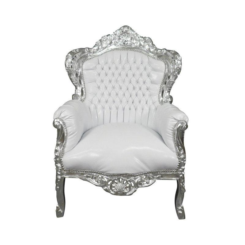 Royal Decoration   Barok fauteuil Romantica zilver wit sky