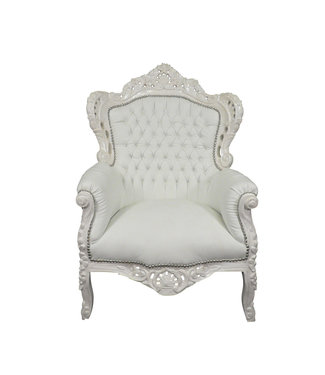 Royal Decoration   Fauteuil baroque Romantica blanc