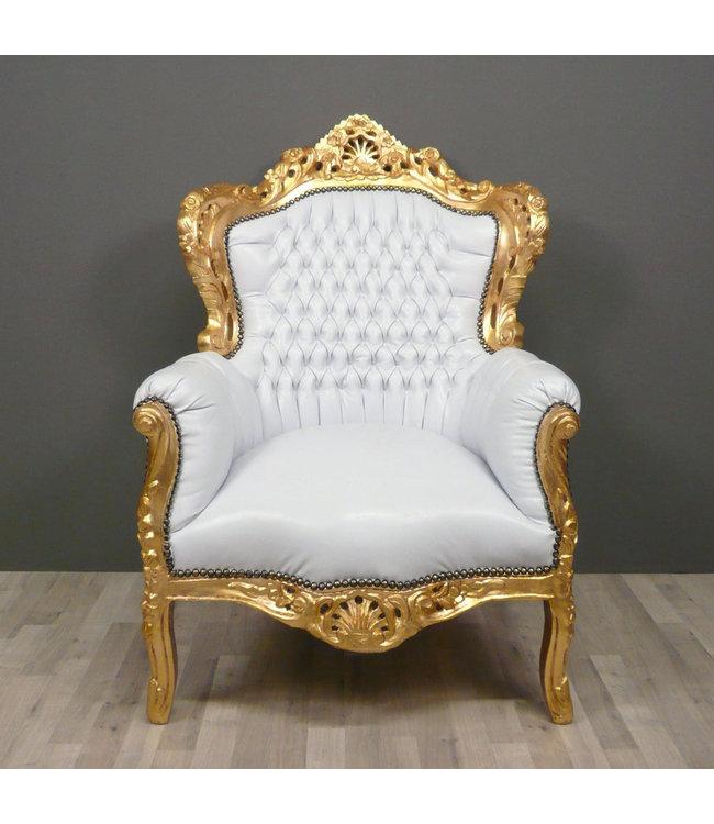 Barok Stoelen Utrecht.Baroque Armchair Romantica Silver White Sky Le Chique Wonen