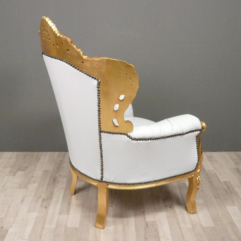 LC Barok fauteuil Romantica goud wit sky