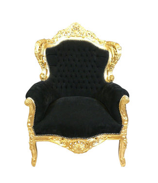 Royal Decoration   Barok fauteuil zwart goud