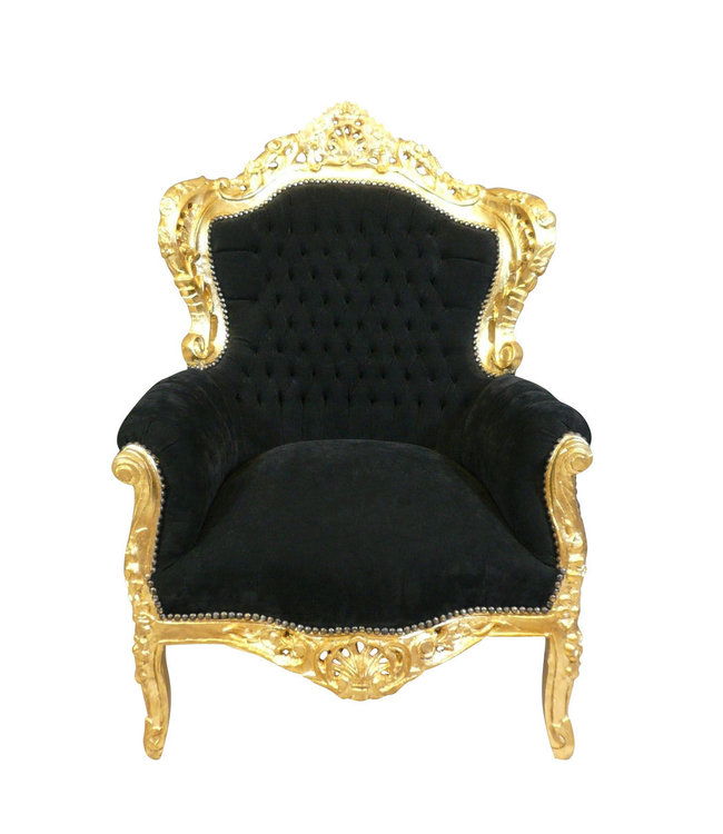 Royal Decoration   Baroque armchair zwart goud