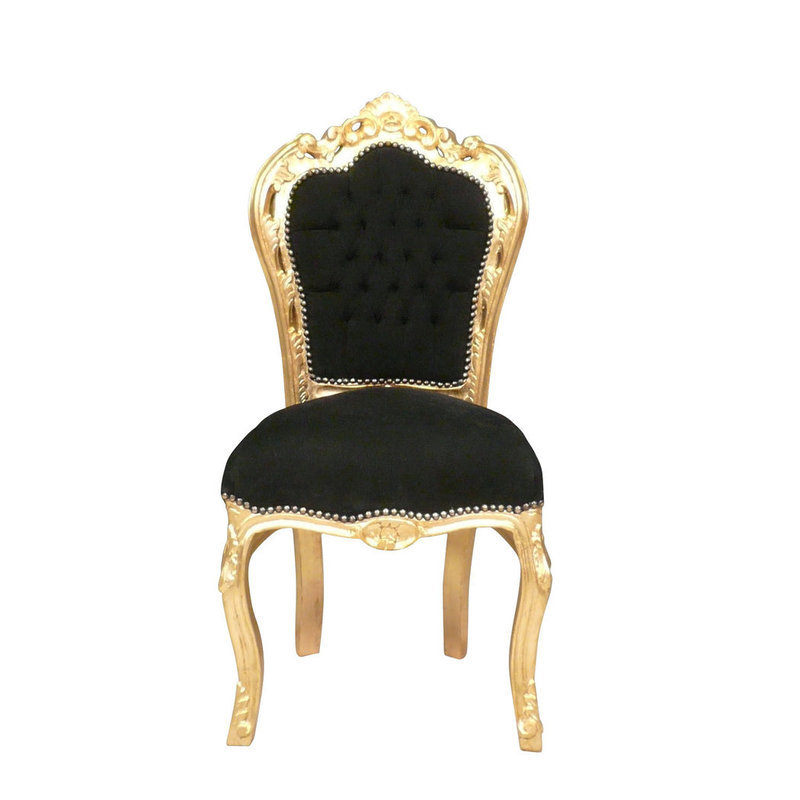 LC Baroque dining room chair gold zwart