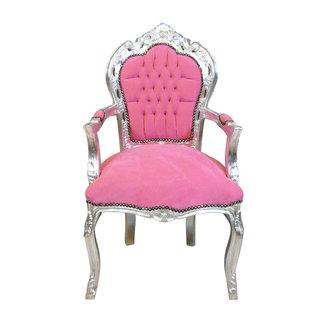 LC Barok armstoel  roze  zilver