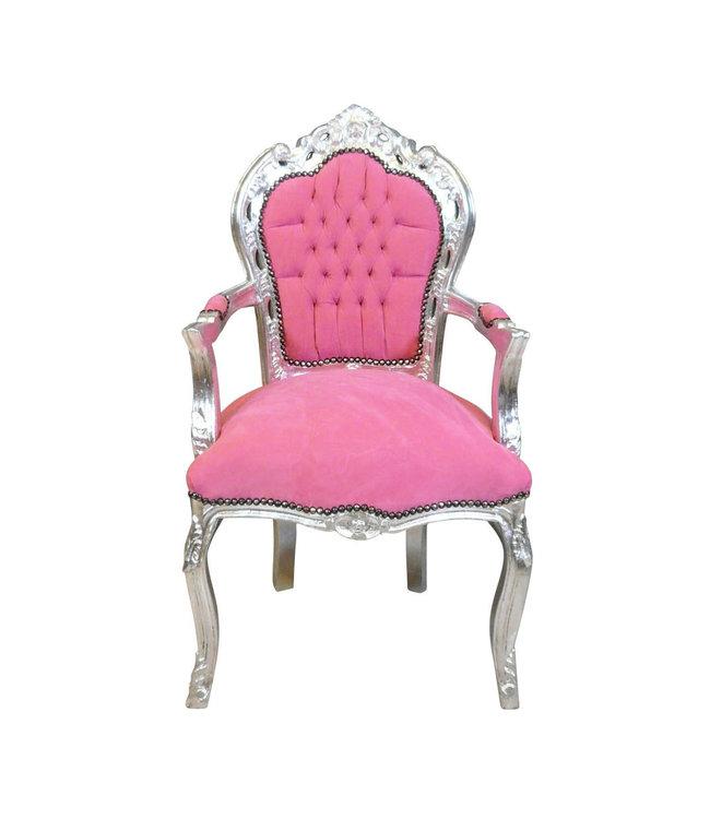 LC Fauteuil baroque rose argent