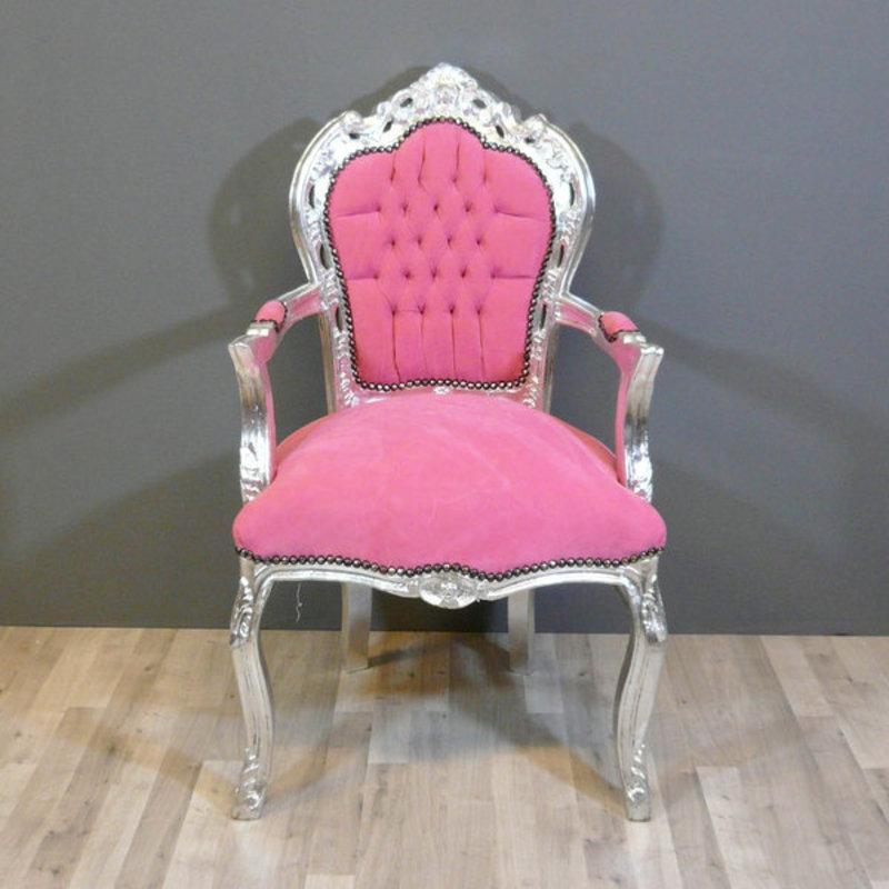 LC Barok fauteuil roze  zilver