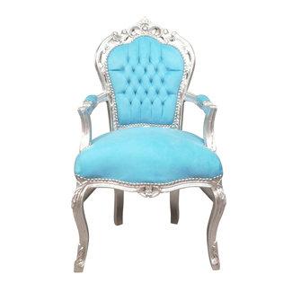 LC Fauteuil baroque argent bleu