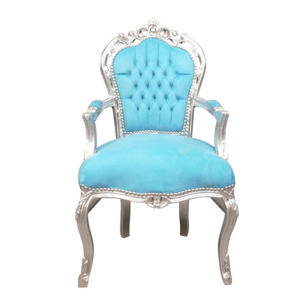 LC Barok  armstoel zilver blauw