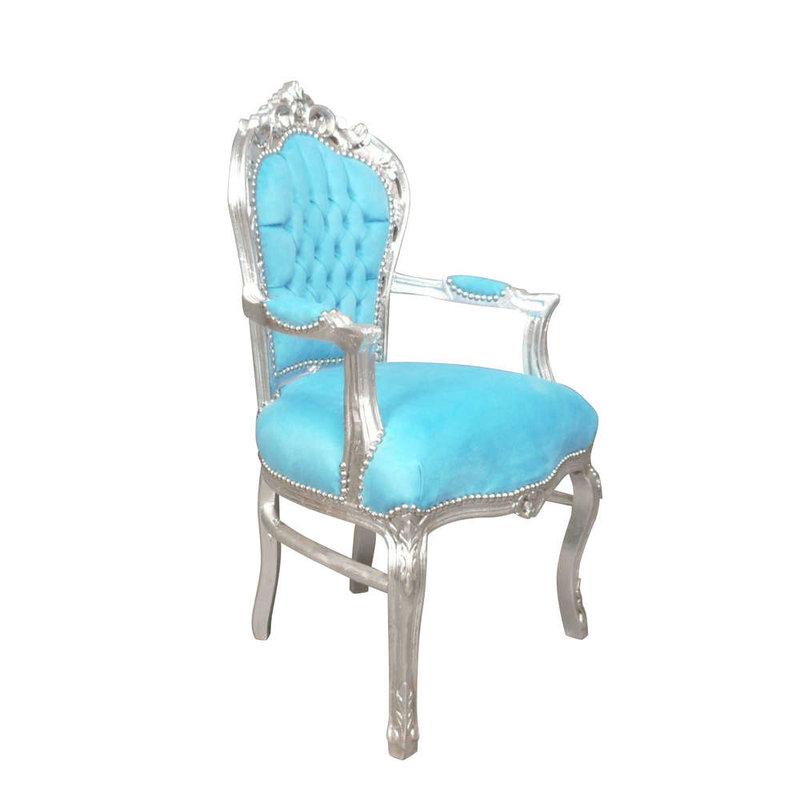 LC Barok eetkamer armstoel zilver blauw