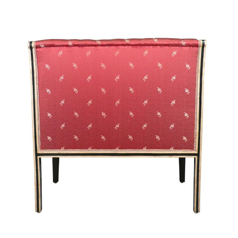 LC Empire mahogany sofa red fabric