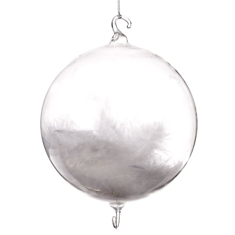 Good Will  Glass ball with white feathers