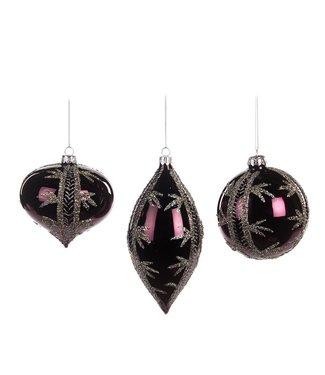Good Will  Ensemble de décoration en verre violet avec rayure