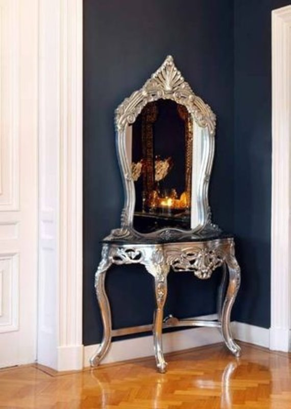 LC Baroque dressing table silver console with mirror