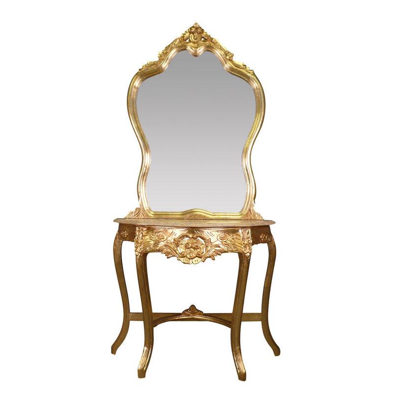 LC Barok kaptafel gouden  console met spiegel