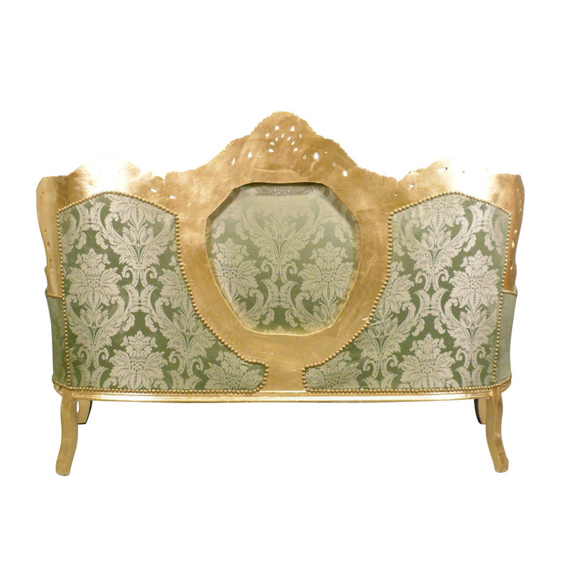 LC Baroque sofa Napoli gold Green flower