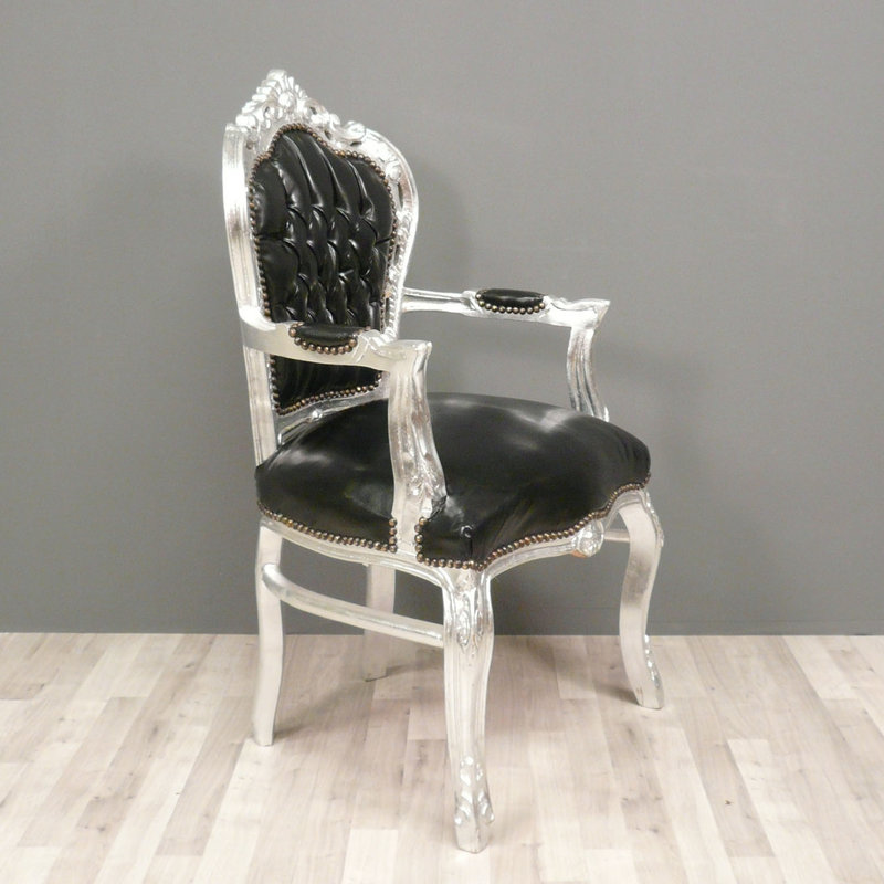 LC Baroque armchair robust silver black
