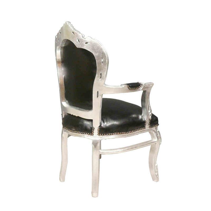 LC Barok  armstoel robuust zilver zwart