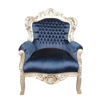 LC Fauteuil baroque satin bleu