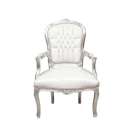 LC Chaise baroque dame argent ciel blanc