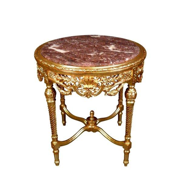 LC Barok bijzettafel goud marmer
