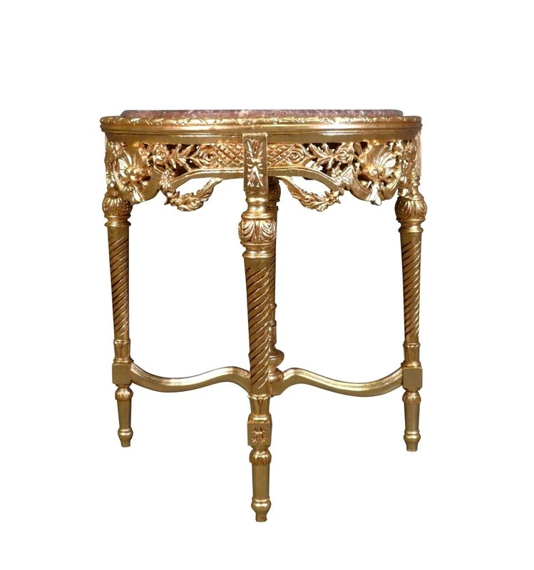 LC Baroque side table gold marble