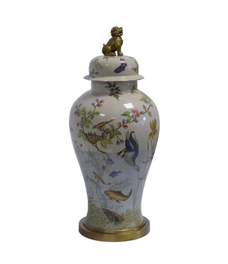 A BRASS MOUNTED PORCELAIN JAR