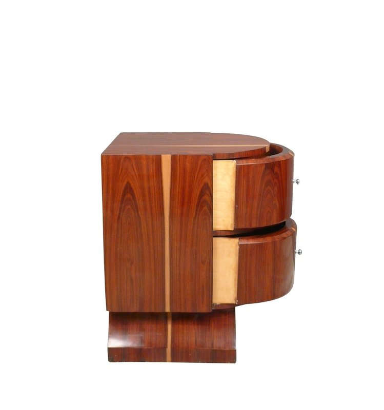 LC PAIR OF ART DECO NIGHT CABINETS IN ROSEWOOD