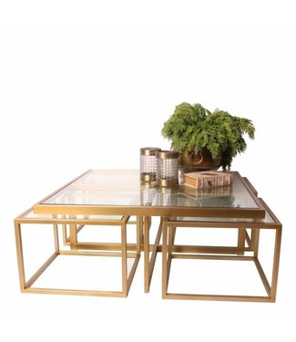 Dutch & Style Cuba vierkante salontafel goud SET / 5