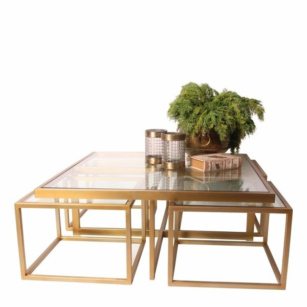 Dutch & Style Cuba square coffee table gold SET/5