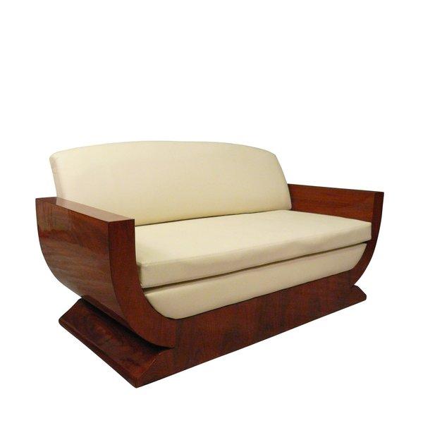 Canapé 3 places de style art déco avec marqueterie de palissandre.
