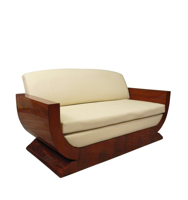 3 seater sofa in art deco style with rosewood marquetry.