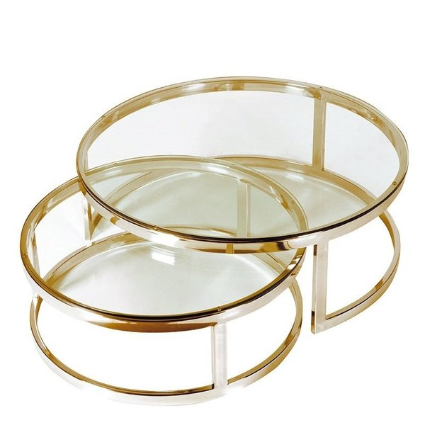 Dutch & Style Cuba round coffee table gold SET/2