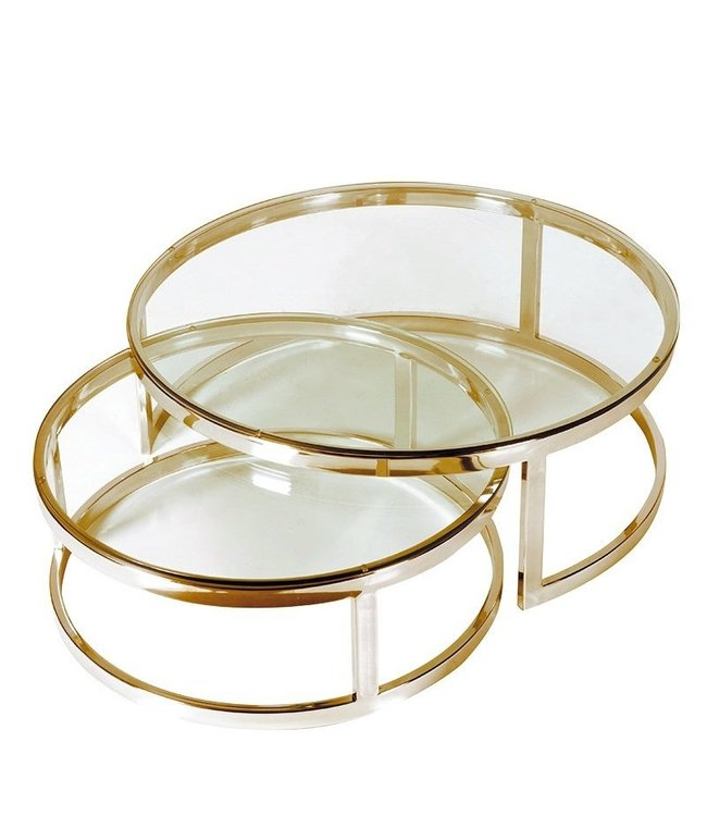 Dutch & Style Cuba round coffee table gold SET2