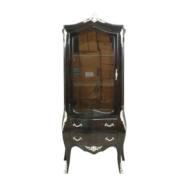 Baroque Showcase Cabinet Madilon 1-Door black