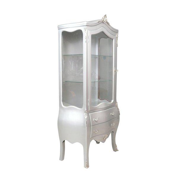 Baroque Showcase Cabinet Madilon 1-Door zilver