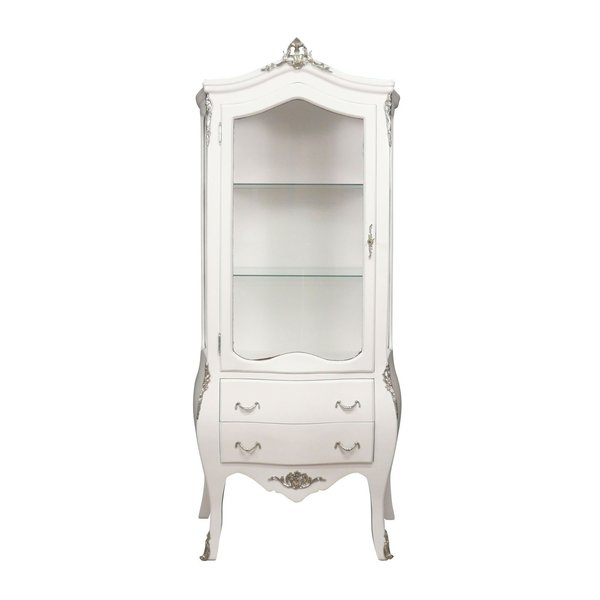Baroque Showcase Cabinet Madilon 1-Door Wit