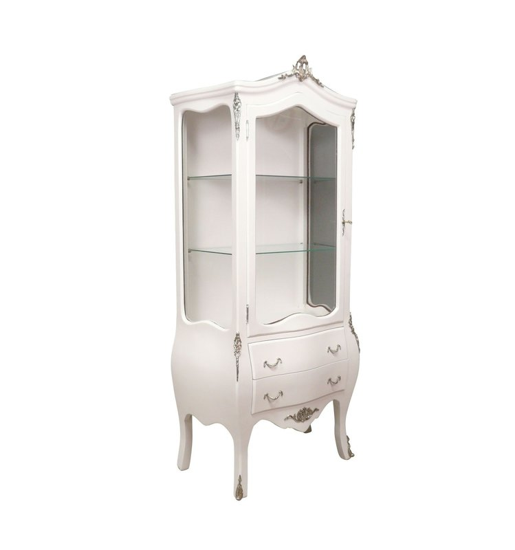 Baroque Showcase Cabinet Madilo -zilver - Wit
