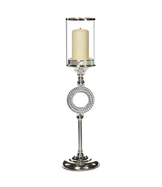 Good Will  GLASS WITH CANDLE HOLDER ON RING STAND TT SLV 52 CM