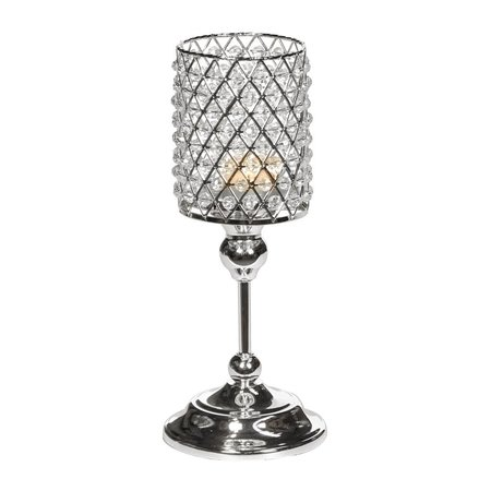Good Will  MET.JEWEL CANDLE HOLDER ON STAND SILVER AND PEARLS