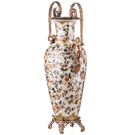 Decotrends  Vase en porcelaine bronze ornement anges